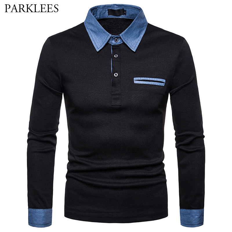 Denim Patchwork Polo Shirt Men Long Sleeve Turn-down Collar Mens Breathable Polos Shirts Solid Color Camisa Polo Masculine Homme