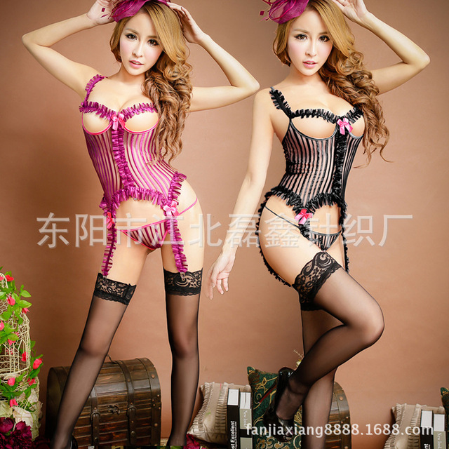 b9561a66a Female Sexy Lingerie Garter Purple Black Polyester Nylon Women Sexy  Suspenders Striped Lace Lingerie Show Chest Ladies Garter