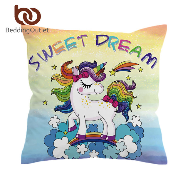 Beddingoutlet Rainbow Unicorn Cushion Cover Cartoon Colorful Pillow