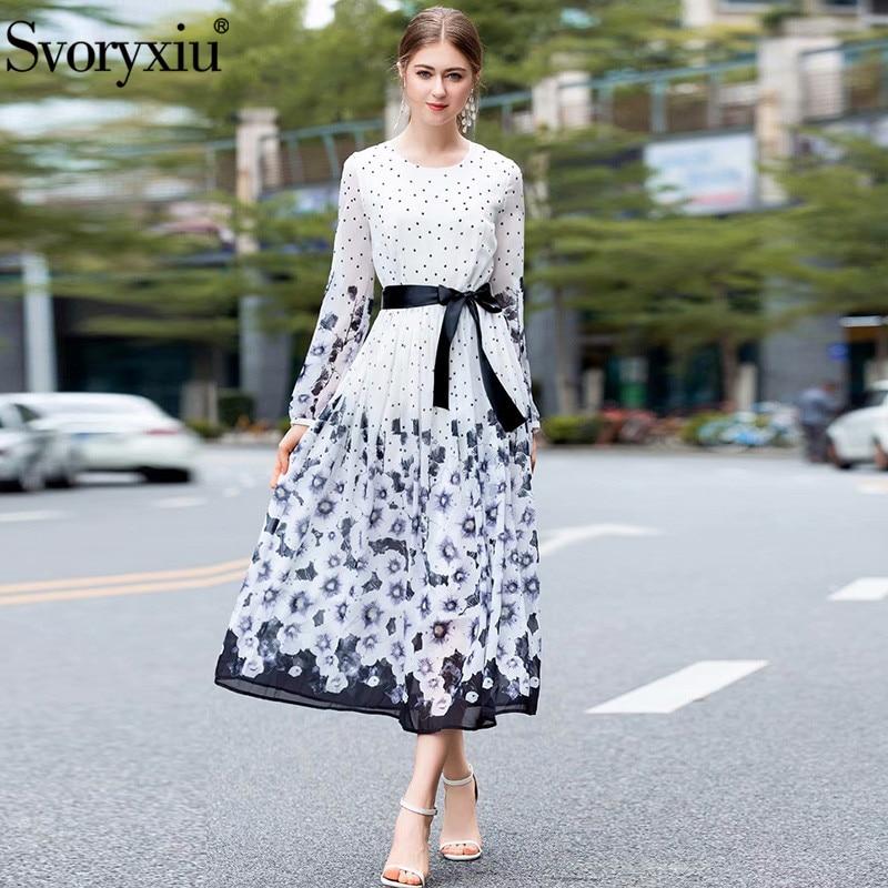 Svoryxiu 2019 Fashion Runway Summer Maxi Dress Women s Elegant Long Sleeve Polka Dot Flower Printed