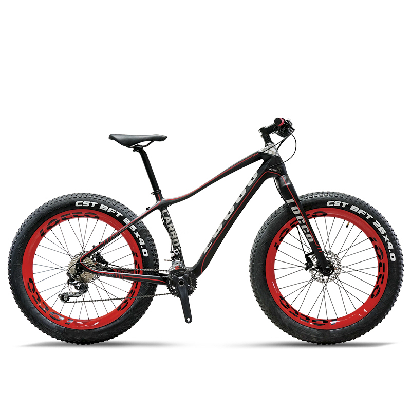 26 pouces de Graisse vélo en fiber de carbone mountian vélo fourche En fiber de Carbone Léger Montagne De Neige Vélo 20 vitesses deore en fiber de carbone vélo