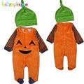 2 UNIDS/0-18Months/de Halloween Estilo Unisex Ropa de Bebé Recién Nacido Niños Niñas Mamelucos Fleece Monos + Sombreros Ropa Infantil Sets BC1361
