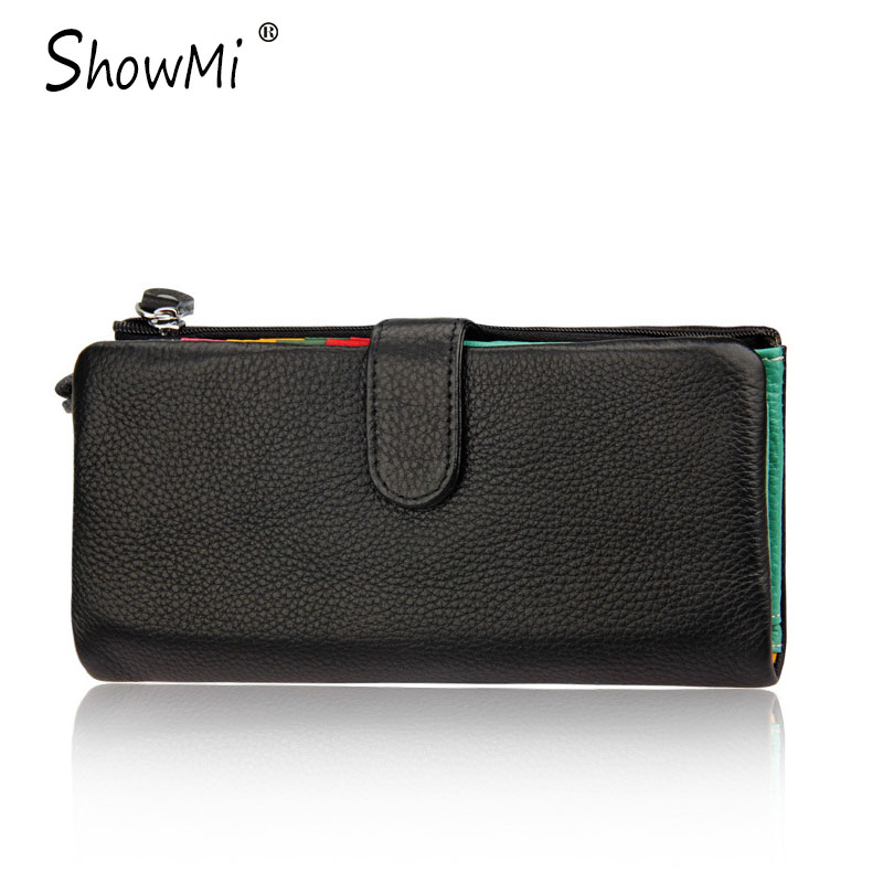 ФОТО ShowMi New Fashion Design Genuine Leather Female Wallet Clutch Candy Color Large Capacity Credit Card Luxury Walet Women Wallet