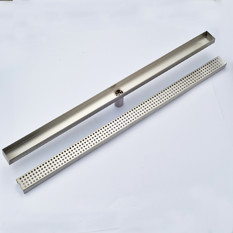 Wholesale And Retail Bathroom Floor Drain Polished Chrome Stainless Steel Floor Drain Long Square Bathroom Drainer Grate Waste