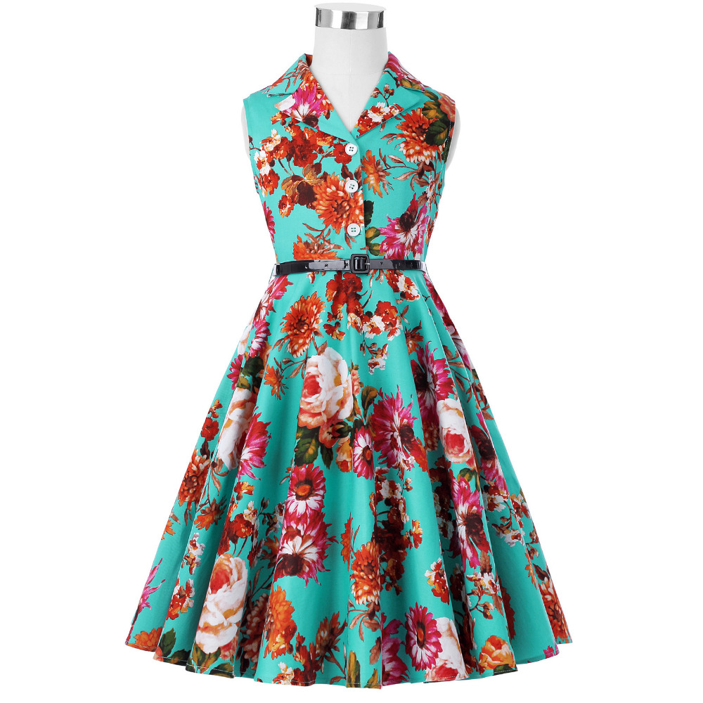 Grace Karin Flower Girl Dresses for Weddings 2017 Sleeveless Polka Dots Printed Vintage Pin Up Style Children's Clothing 36