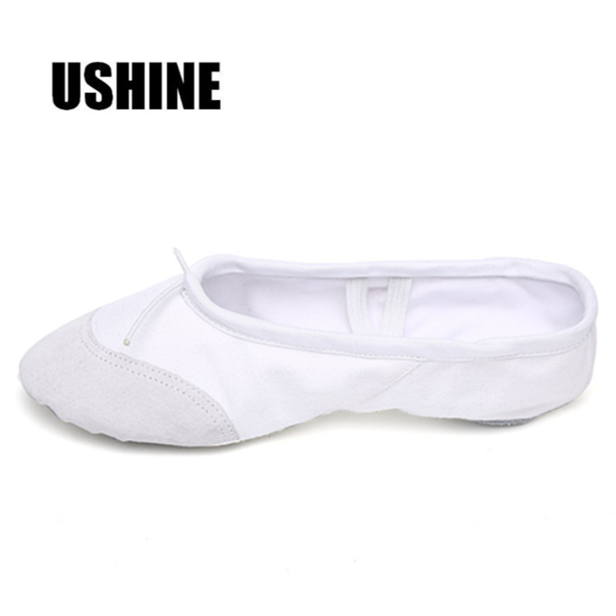 USHINE Professional White Yoga Slippers Indoor Exercising Canvas Ballet Dance Shoes For Girls Kids Children Women Gym Shoes
