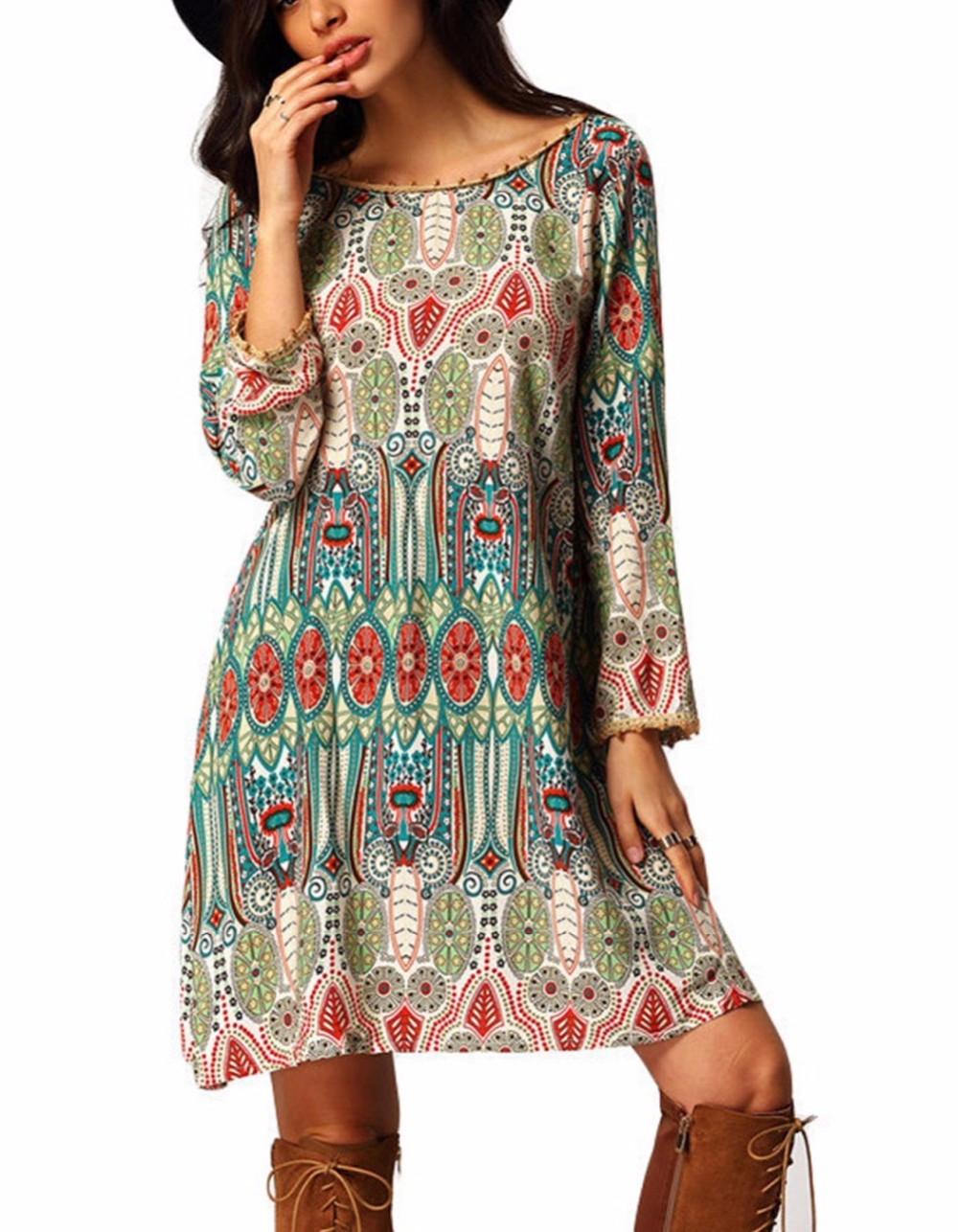 Elegant Sexy Boho Vintage Long Sleeve Women Dress Bohemian Tunic Short Clothing Female Vestidos Vestido De Festa Robe Femme 2016 3