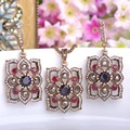 Turco de La Vendimia Escultura Flores Juegos de Joyería Collar y Pendientes 2 Colores Simulado de Cristales de Resina de Oro Antiguo Bijuterias