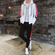 22a8c9e1d Nueva moda Hoodies traje Patchwork Side Stripe Outwear Set Zip Cardigan  negro blanco rojo otoño invierno deporte sudor traje