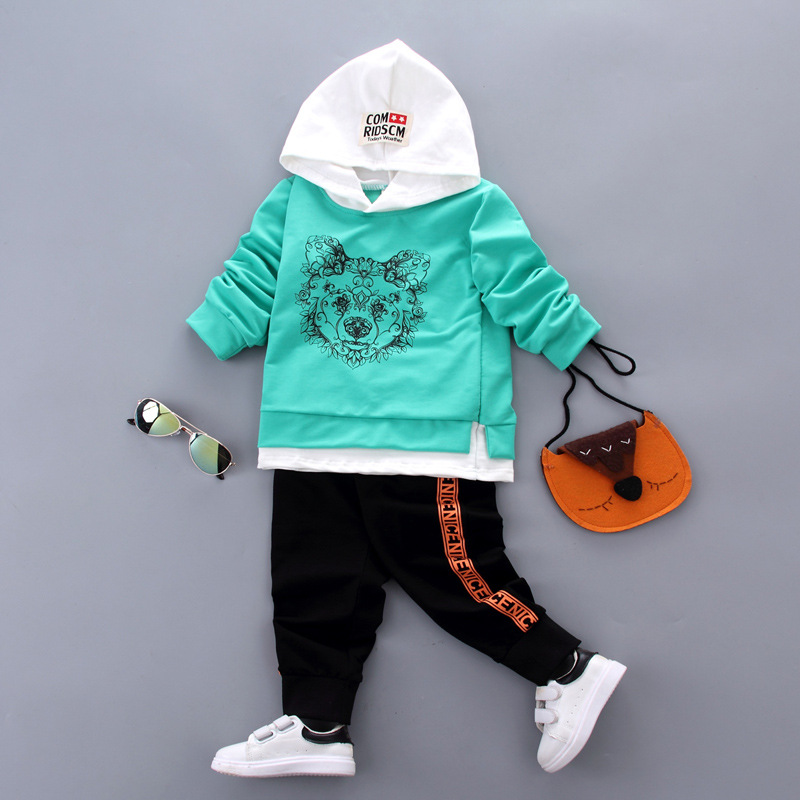 newborn baby boys sets infant spring autumn cartoon Lion Long sleeve hooded T-shirt + pants sport suit baby girls clothing sets