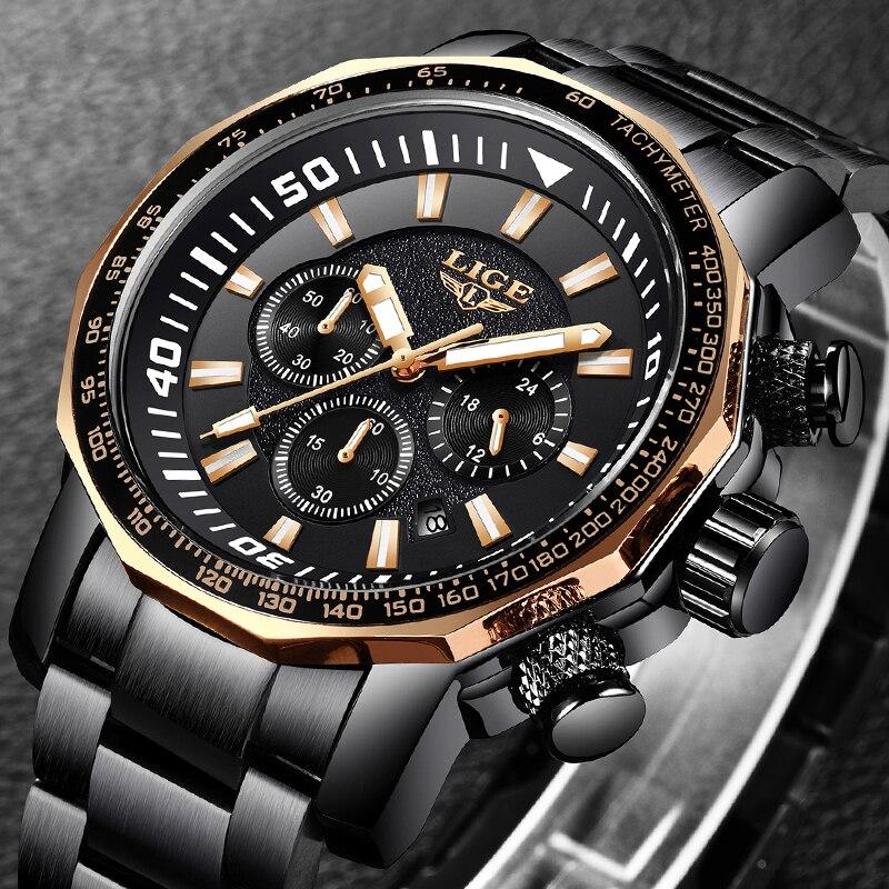 Relogio Masculino мужские часы LIGE лучший бренд класса люкс Большой Циферблат Бизнес Кварцевые часы для мужчин s полный сталь платье водонепроница...