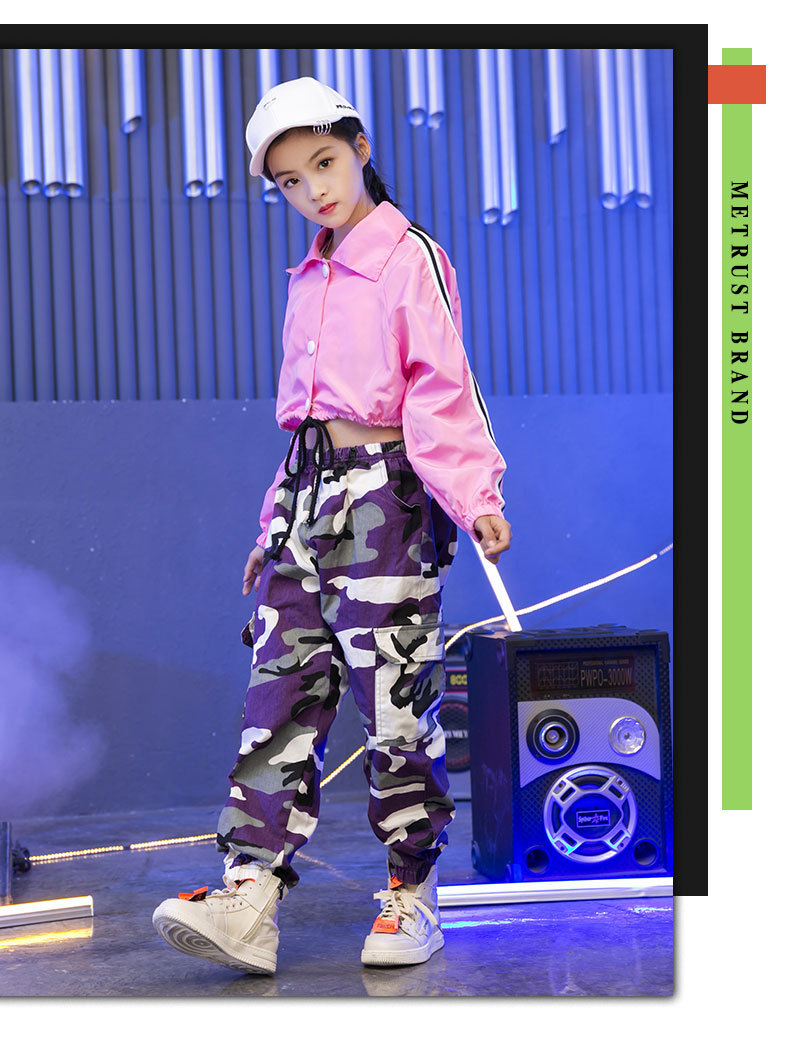 Pink Girls Jazz Dance Costumes Hip Hop Suit Long Sleeve Children Kids Street Dancing Clothes Performance Show Out Clothing (9)
