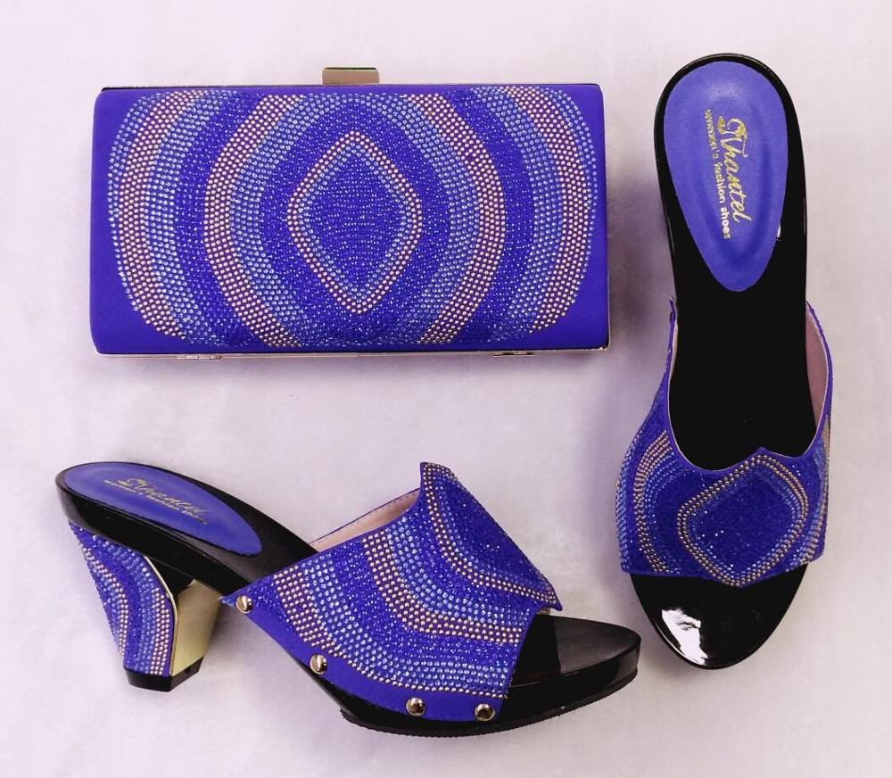 ФОТО New Arrival Blue Shoes and Bag To Match Italian High Quality African Style Shoes and Bag Set with Buckle Wedding Shoes and Bags