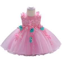 2019 New Baby Dress Girls Pink Flowers Lace Dress Kids Wedding Banquet Clothing