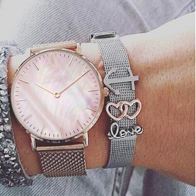 Mavis Hare Rose Gold Pink Seashell Mesh Women Watch & Silver Love anchor double heart Slide Keeps Charm Bracelet Set as Gift