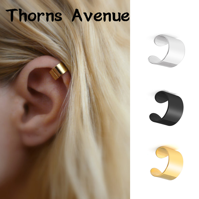 New Fashion 1PC Sliver Color Geometric Stainless Steel Earring Clips Earcuff Clip On Earrings For Women Men Ear Clips Jewelry