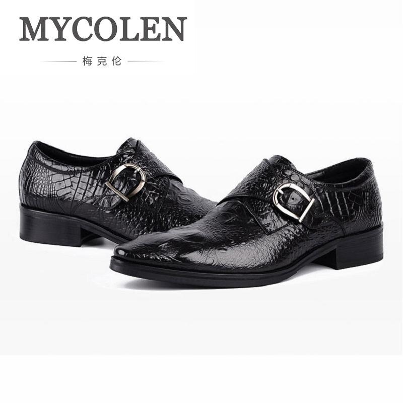 Mycolen Brand Classic Buckle Strap Office Mens Dress Shoes Genuine