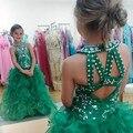HQ 2017 Verde Pageant Vestidos Para Meninas Glitz Puffy Saia Uma Linha de Lantejoulas Frisado Crianças Evening Vestidos Vestidos Da Menina de Flor