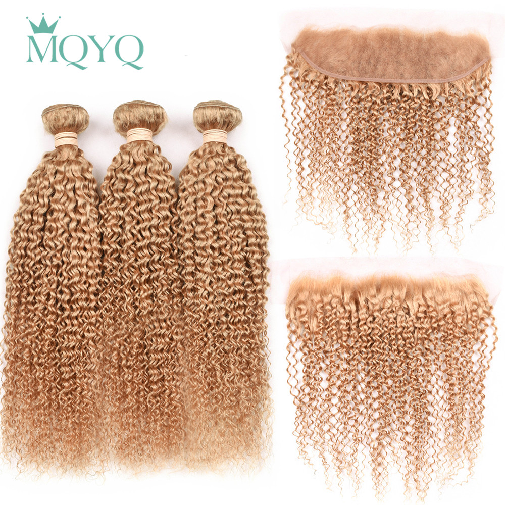 MQYQ Pre Colored 27# Kinky Curly Brazilian Human Hair Weave 3 Bundles With 13*4 Lace Frontal Closure Ear To Ear with Baby Hair