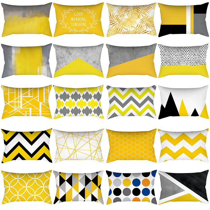 Pineapple Leaf Yellow Pillow Case Yellow Polyester Pillowcase Geometric Striped Flower Classy Pillowcase 30X50cm