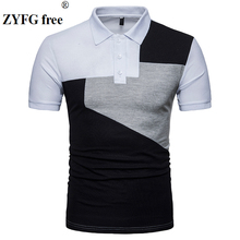 2018 summer style polo shirt men's causal fashion three color patchwork slim short sleeved POLO Shirt dress men EU/US size M-XXL tops summer style polo shirt men s causal fashion brand striped color slim short sleeved polo shirt dress men eu us size m xxl