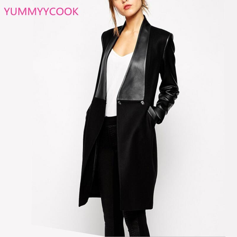 Y259 Longue Laine Couture Offre Col Sexy Mode Femme En Noir Vestes V Cw7Ian5qx