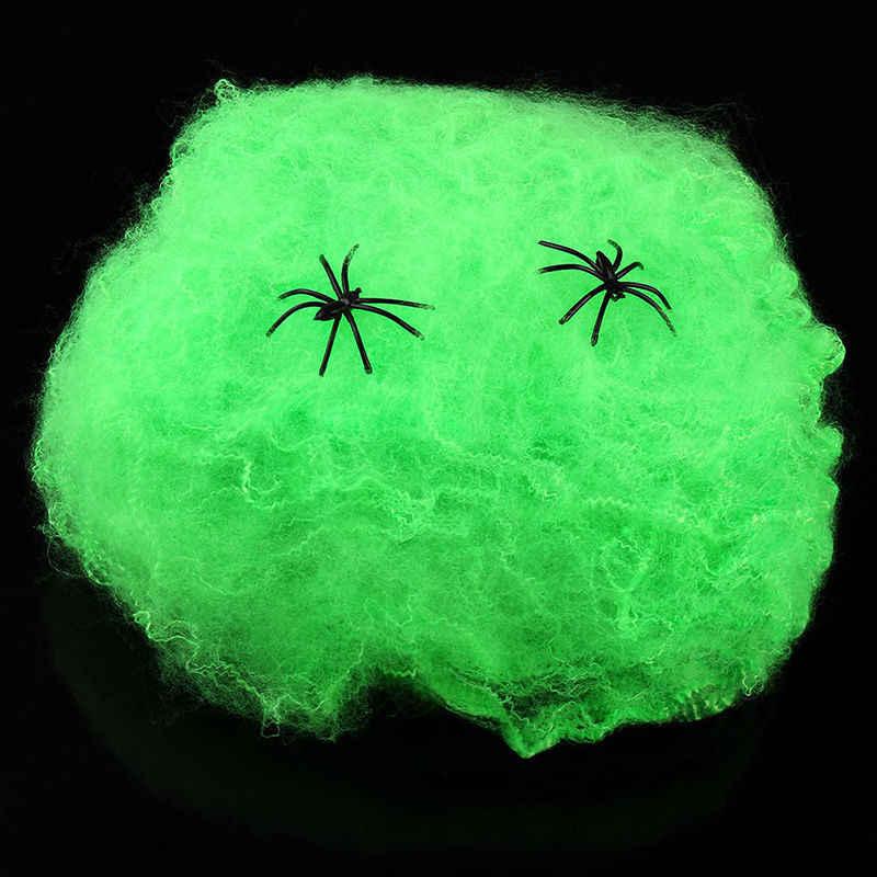 2016 Halloween przerażające rekwizyty na imprezę biała elastyczna pajęczyna pajęczyna Horror Halloween dekoracja na Bar nawiedzony dom 70