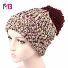 Fashion Women Warmer Knit Beanie Hat Thick Warm Casual Knitted Skullies Cap Reggae Ball