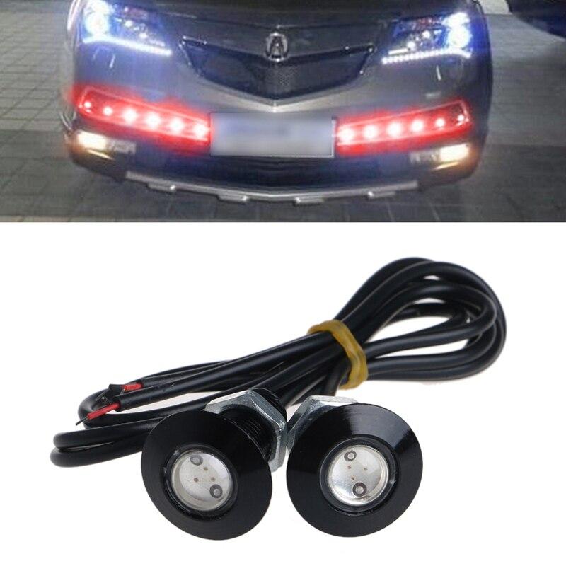1 Pair Ultra Thin 12V 23mm Car LED DRL Daytime Running Light Eagle Eye Lamp Red