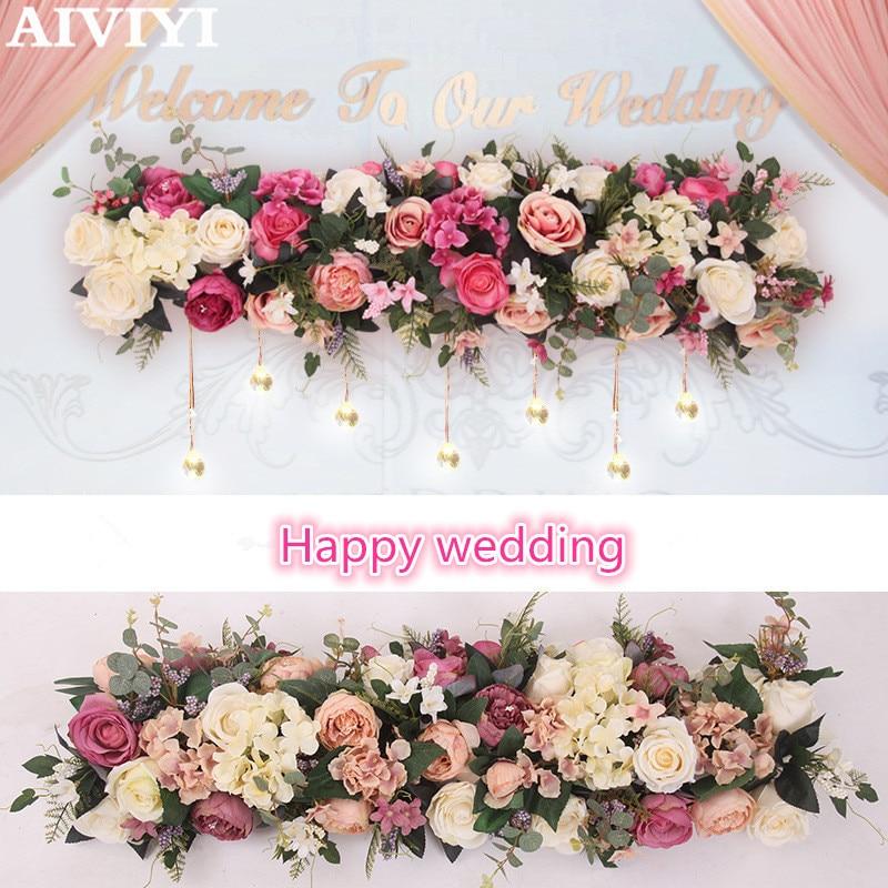 Commerce extérieur excellents produits 1 M décoration de mariage fleur rose rayonne fleur fleur arc fleurs bricolage décoration murale fenêtre dec