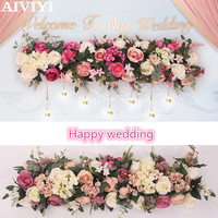 Foreign trade excellent products 1M wedding decoration flower pink rayon flower flower bow DIY flower wall decoration window dec