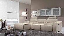 Vaca genuino / real sofás de cuero salón sofá seccional / sofá de la esquina de muebles para el hogar sofá setional en forma de L funcional