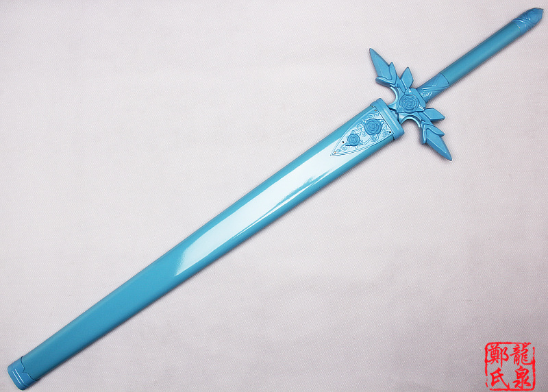 Metal Made Kirito Sword Art Online Blue Rose Eugio Replica Blade Project Alicization Wooden Scabbard Cosplay Props-No Sharp 2