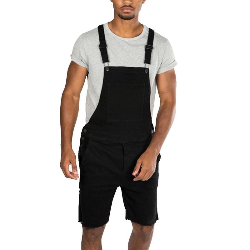 SHUJIN 2019 Summer Fashion Men Fashion Jeans Jumpsuits   Shorts   High Street Style Distressed Denim Bib Overalls Mens Casual   Shorts