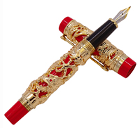 Jinhao Dragon Phoenix Vintage Luxury Calligraphy Pen Fountain Pen Bent Nib Full Metal Carving Golden & Red for Art Office Gift