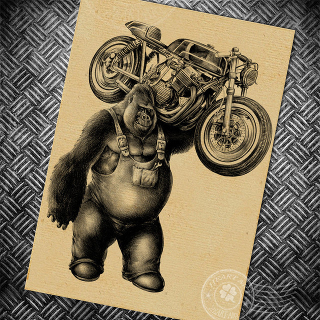 Gorilla Motorcycle Vintage Poster Route 66 Retro Wall Old Painting Bar Cafe Print Picture Prints Posters