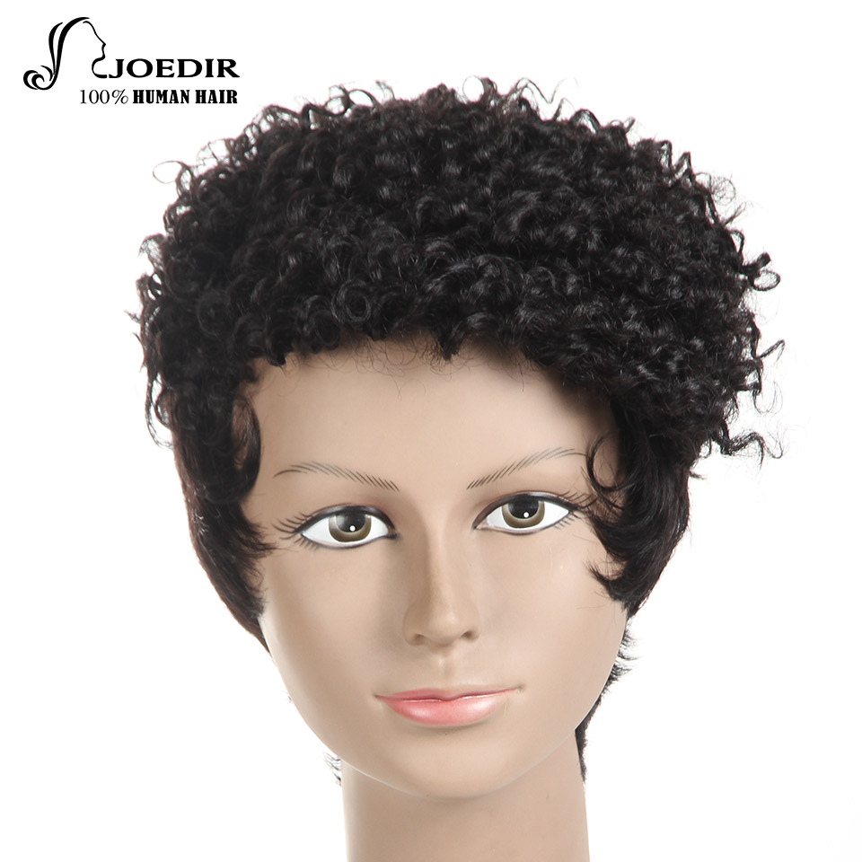 Joedir Human Hair Wigs Brazilian Remy Hair Curly Mix Straight Machine Made Short Wigs Fo ...