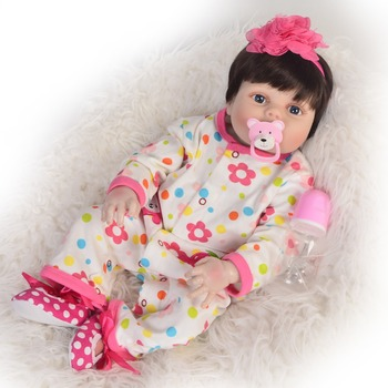 Cute 23 Inch Full Silicone Baby Doll 100% Handmade Lifelike Reborn Babies Girl Toy For Kid Christmas Gift Bedtime Playmate