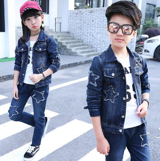 Children Clothing Sets Spring Autumn School Girls Boys Outfits Cotton Denim Jacket +Pants Kids 2PCS/ set Clothes 6 8 10 12 Year children clothing sets for teenage boys and girls camouflage sports clothing spring autumn kids clothes suit 4 6 8 10 12 14 year