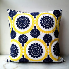 Yellow Blue Cushion Cover Cute Circle floral Embroidery Pillow Case with For Sofa Bed Simple Home Decorative 45x45cm Sofa Bed(China)