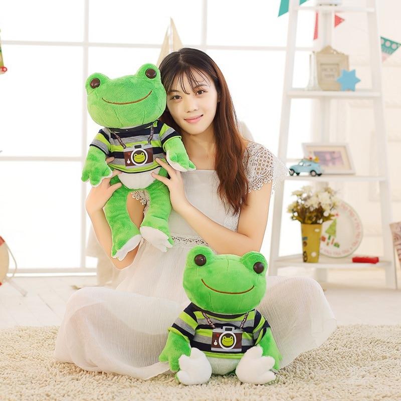 1pc 26cm/53cm Lovely Frog Plush Toy Soft Cartoon Dressed Frog Stuffed Animal Doll Kids Sleeping Toys Children Birthday Presents