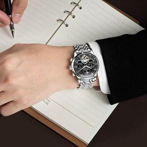 Image 4 - DOM החדש יפן מכאני שעון שעוני יד אוטומטית Mens שעונים למעלה מותג יוקרה מקרית עור עמיד למים שעון גברים M 75D 1MH