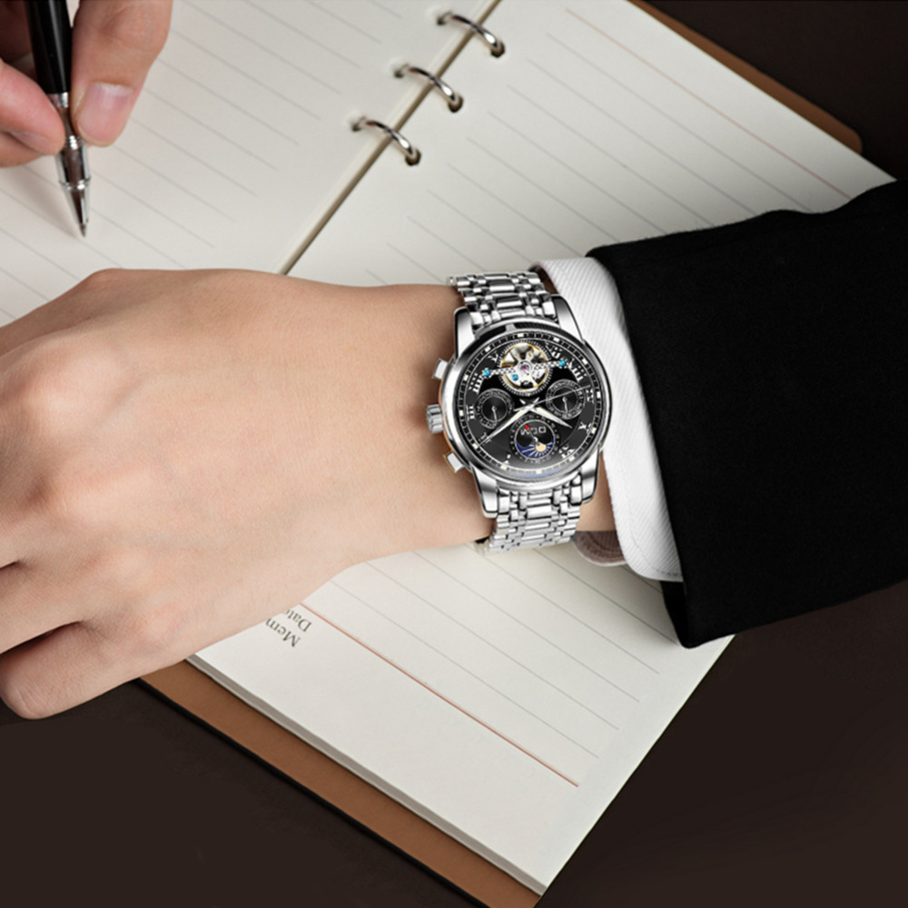 Image 4 - DOM New Japan Mechanical Watch Wristwatches Automatic Mens Watch 