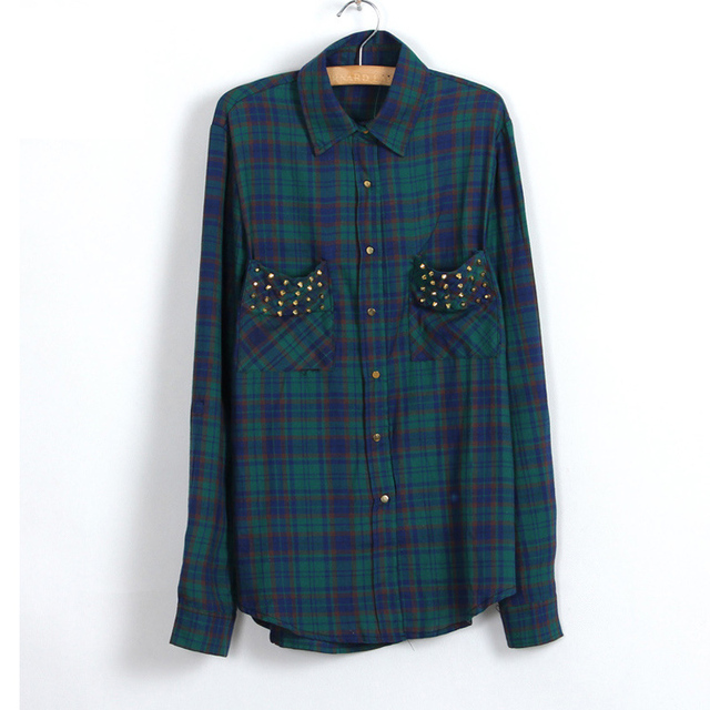 Womens Red Tartan Plaid Cottton Shirt 2016 Spring Collar Chest Rivet Double Pocket Big Check Long Loose Casual Blouse Female Top