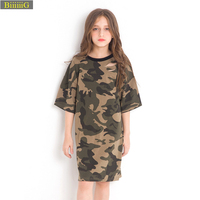 Camouflage Girl Spring Autumn Fashion Dress Brand Kids Clothes Colorfu Army Style Casual Girls Costume For