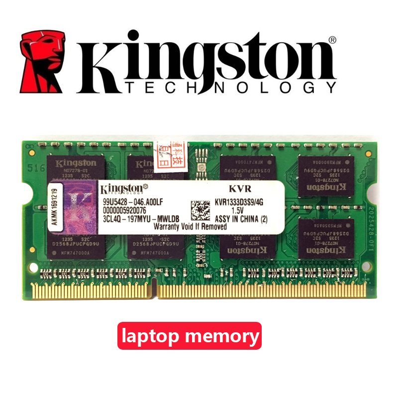 Kingston Laptop <font><b>notebook</b></font> 1GB 2GB <font><b>4GB</b></font> 1G 2G 4G PC2 PC3 <font><b>DDR2</b></font> DDR3 667 1066 1333 1600 MHZ 5300S 6400S 8500S ECC memory <font><b>RAM</b></font> image