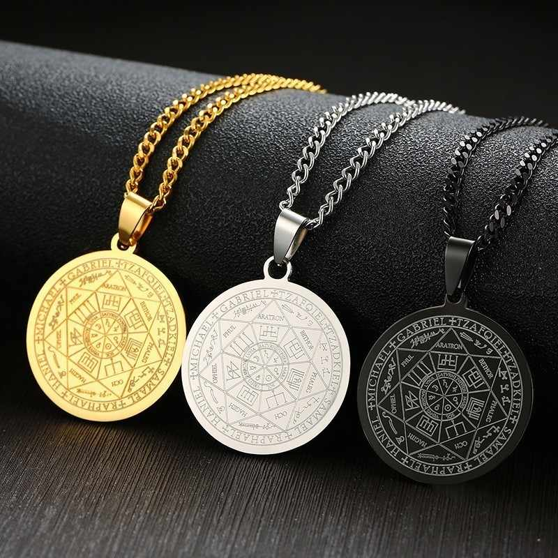 Punk Men's The Seal of The Seven Archangels Necklaces Male Stainless Steel Male Pendant with Free Chain 24""