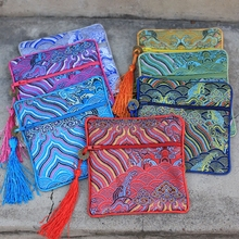 Seawater Small Zipper Pouch Jewelry Travel Bag Chinese Silk Brocade Bracelet Women Credit Card Holder Coin Purse 50pcs/lot