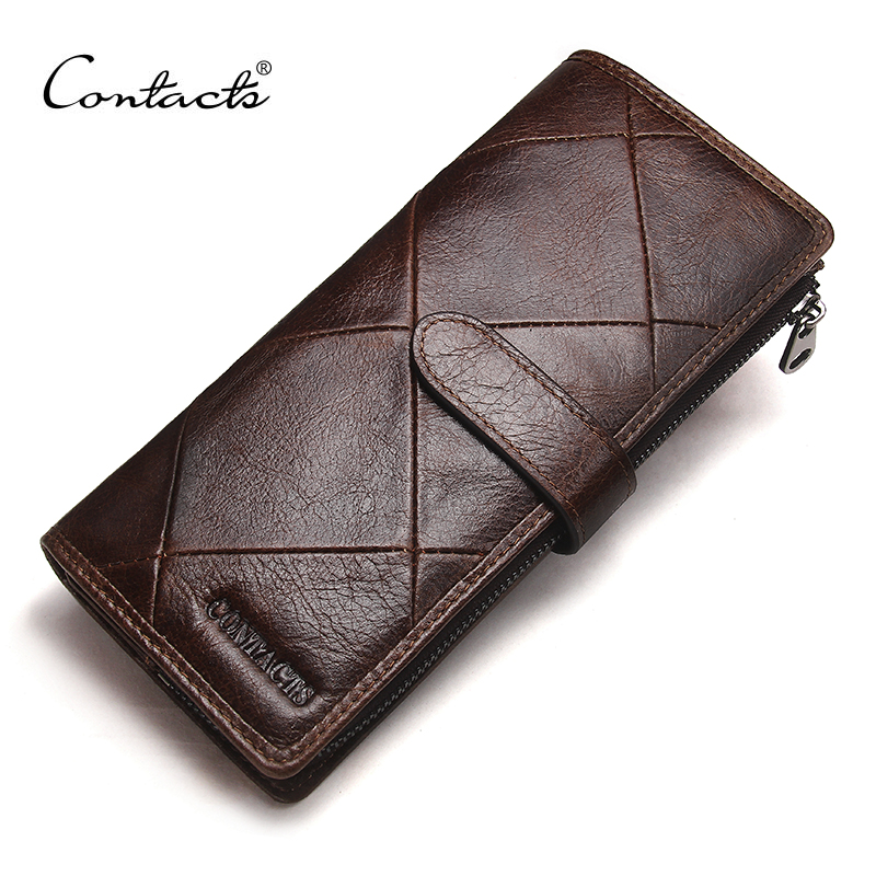 CONTACT'S New Fashion Men Wallet Long Genuine Leather For Male Luxury Brand Purses and Female Clutch Wallets With Coin Pockets cobbler legend brand designer 2018 genuine leather slim men s wallet cow leather men clutch wallets male fashion coin purses