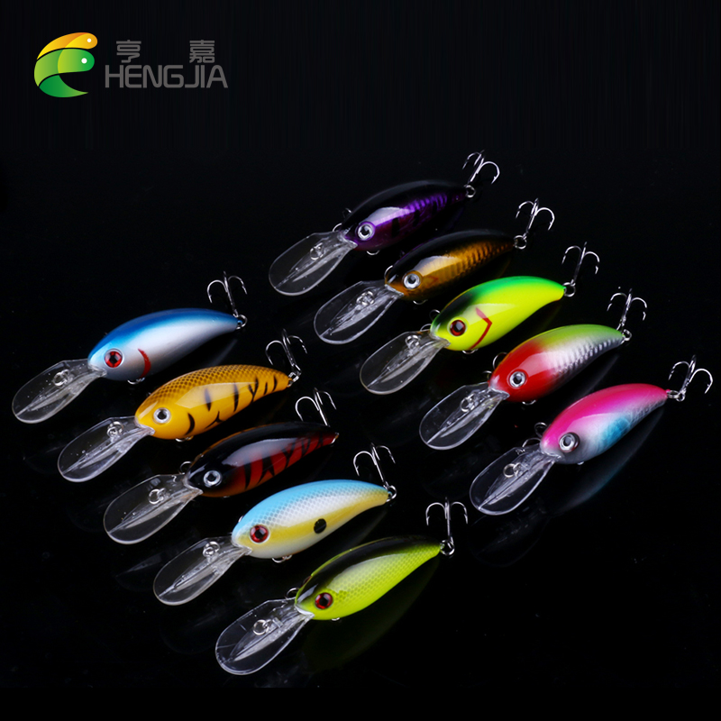 HENGJIA 10pcs Crankbait big Wobblers pesca Hard bait Fishing Lure 14g 10cm Swim bait Crank Bait Bass Fishing tackle jerkbait